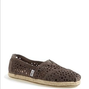 Toms Moroccan Laser Cut Brown Suede Slip On Shoes
